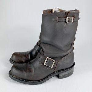 Frye Brown Engineer Moto Boots Womens Size 8